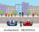 a car stopped by the police... | Shutterstock .eps vector #382355422