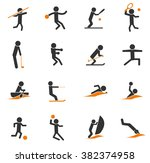 sports simple icons for web and ... | Shutterstock .eps vector #382374958