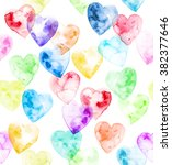 Watercolor Hearts Of Rainbow...