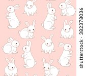 Stock vector seamless pattern with cute white little rabbits 382378036