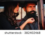 brutal bearded man with a... | Shutterstock . vector #382402468