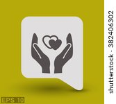 pictograph of heart in hand   Shutterstock .eps vector #382406302