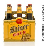 Small photo of Winneconne, WI - 26 Feb 2016: Six pack of Shiner Bock beer that is brewed in Shiner, Texas