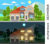 day and night house illustration | Shutterstock .eps vector #382440868