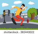 a male running scared with city ... | Shutterstock . vector #382443022