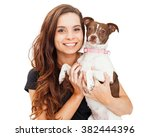 portrait of a pretty young... | Shutterstock . vector #382444396