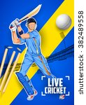 illustration of batsman playing ... | Shutterstock .eps vector #382489558