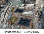 9/11 Memorial park, aerial view in Manhattan New York City
