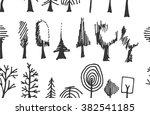 set of tree doodles seamless | Shutterstock .eps vector #382541185