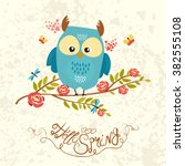cute  spring owl sitting on a... | Shutterstock .eps vector #382555108