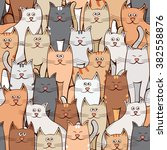 many cats seamless pattern | Shutterstock .eps vector #382558876