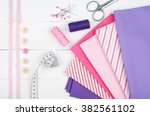 sewing background. cotton... | Shutterstock . vector #382561102