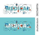 medical lettering flat line... | Shutterstock .eps vector #382568956