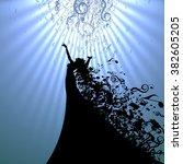 silhouette of opera singer and... | Shutterstock .eps vector #382605205