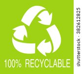 100  recyclable stamp on green...   Shutterstock .eps vector #382612825