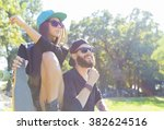 happy hipster couple enjoying... | Shutterstock . vector #382624516