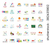 children icons set vector... | Shutterstock .eps vector #382635802