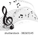musical notes staff background...   Shutterstock . vector #38265145