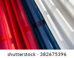 Tricolor Drapery With Red  Blu...