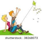 Family Flying Kite - Vector - stock vector