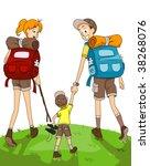 Family Hiking - Vector - stock vector