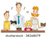 Family attending Mass - Vector - stock vector