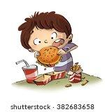 child eating a hamburger | Shutterstock . vector #382683658