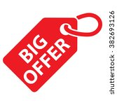 big offer tag. red color.... | Shutterstock .eps vector #382693126