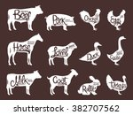 set of butchery logos. farm... | Shutterstock .eps vector #382707562