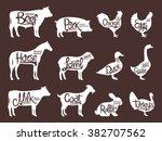 Stock vector set of butchery logos farm animals silhouettes collection 382707562