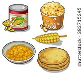 thematic set of food from corn. ... | Shutterstock .eps vector #382715245