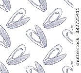 seamless vector mussel pattern... | Shutterstock .eps vector #382725415