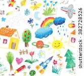child drawing seamless pattern | Shutterstock .eps vector #382728526