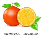 orange  with leaf isolated on... | Shutterstock .eps vector #382730032