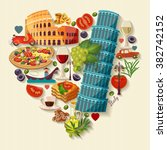 italy love   heart shape with... | Shutterstock .eps vector #382742152