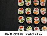 rolls yin yang with tuna and...   Shutterstock . vector #382761562