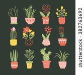 flowers in vases. vector... | Shutterstock .eps vector #382763692