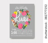 luau invitation with floral... | Shutterstock .eps vector #382777252