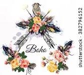hand drawn bo ho tribal design... | Shutterstock .eps vector #382796152
