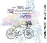 cute paris card | Shutterstock .eps vector #382811902