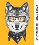 portrait of wolf with glasses... | Shutterstock . vector #382813525