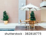 empty table and chair with...   Shutterstock . vector #382818775