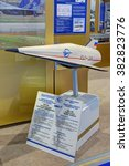 Small photo of ZHUKOVSKY, MOSCOW REGION, RUSSIA - AUG 30, 2015: The hypersonic flying testbed GLL-VK at the International Aviation and Space salon MAKS-2015