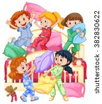 girls playing pillow fight at... | Shutterstock .eps vector #382830622