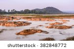 the dried up mekong river in...