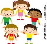 children of the world | Shutterstock .eps vector #382867852