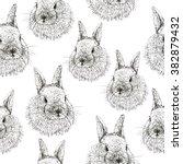 Rabbit Sketch Seamless Patter...