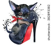 cute dog watercolor... | Shutterstock . vector #382893382