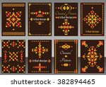 set of cards with bright tribal ... | Shutterstock .eps vector #382894465