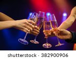people with champagne in a bar... | Shutterstock . vector #382900906